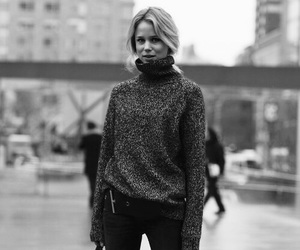 black and white, blond, and fall image