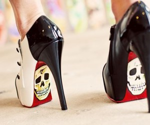 shoes, skull, and heels image