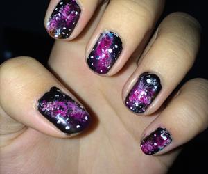 galaxy, make up, and nail art image