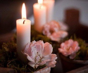 candle, flowers, and pink image