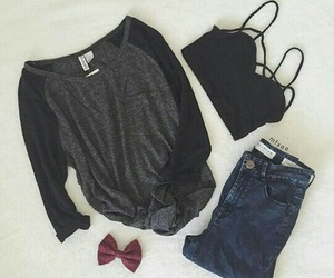 black, bow, and jeans image