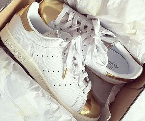 addidas, gold, and shoes image