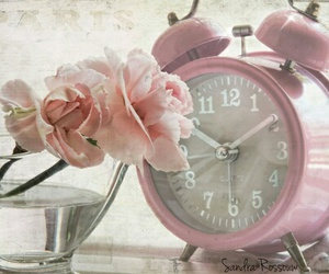 pink, flowers, and clock image