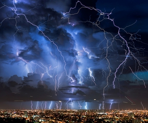 lightning, city, and nature image