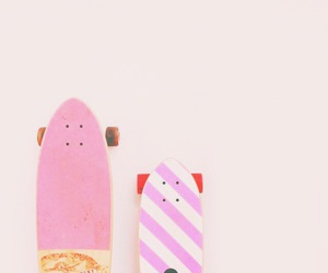 pastel, pink, and skateboard image