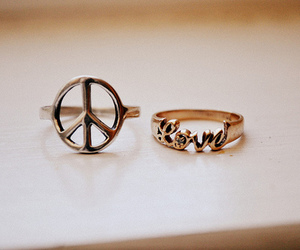 love, peace, and rings image