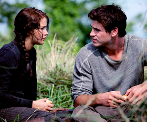 the hunger games, katniss, and gale image