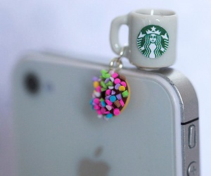 starbucks, donuts, and iphone image