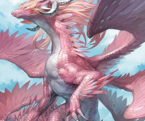 dragon, pink, and wings image