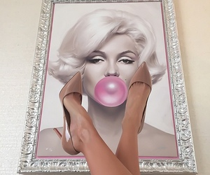 pink, Marilyn Monroe, and shoes image