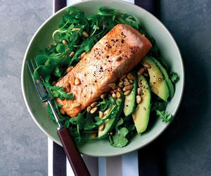 food, healthy, and salmon image