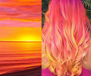 beach, sky, and colored hair image