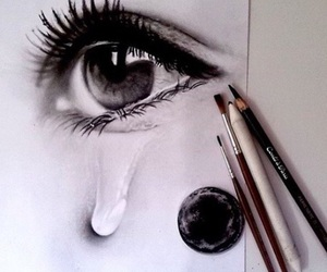 art, black and white, and emotion image