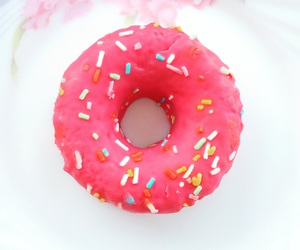 food, donut, and pink image
