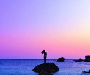 sky, beach, and girl image