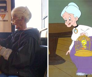 grandma, old lady, and tweety bird image