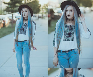 hat, blue hair, and grunge image