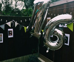16, balloons, and black image