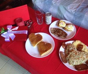 bedroom, breakfast, and couple image