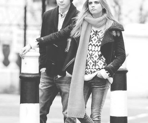 cara delevingne, black and white, and Harry Styles image