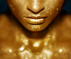 face, glitter, and gold image