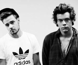 black and white, liam payne, and Harry Styles image