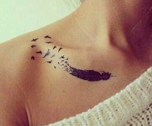 tattoo, feather, and bird image