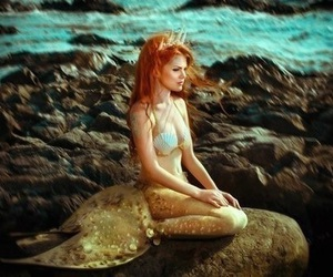 mermaid, ariel, and ocean image