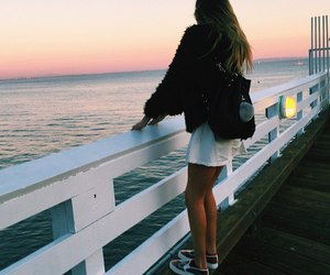 girl, sunset, and travel image