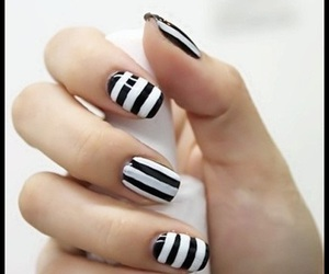 nails, black and white, and nail polish image