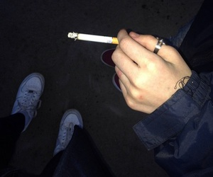 cigarette, nike, and smoke image