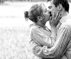 kiss, rain, and couple image