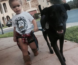 girl, baby, and dog image