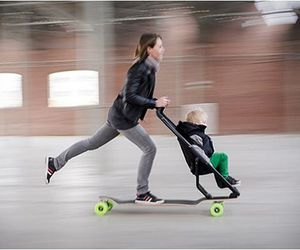 baby, longboard, and mom image