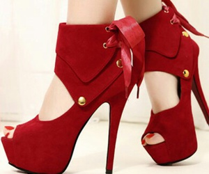 red, heels, and high heels image