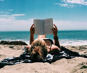 beach, book, and reading image