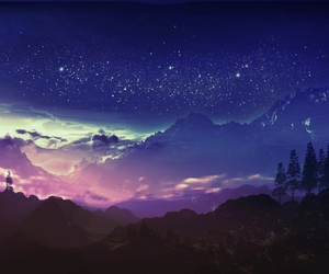anime, landscape, and night image
