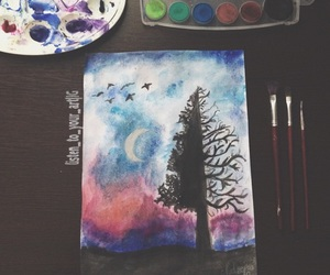 drawing, painting, and tree image