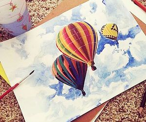 draw, sky, and mongolfiere image