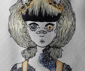 drawing, girl, and galaxy image