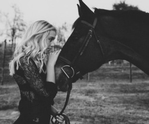 horse and blonde image