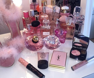 makeup, pink, and perfume image