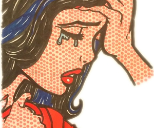 art, crying, and drawing image