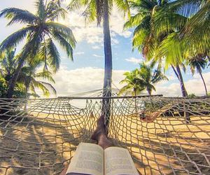 beach, book, and legs image