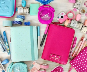 pink, school, and blue image