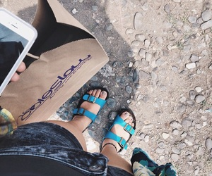 birkenstock, blue, and iphone image