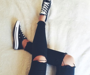 black, converse, and jeans image