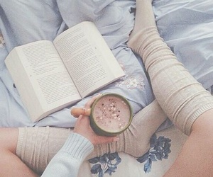 book, drink, and reading image