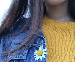 blue, girl, and yellow image