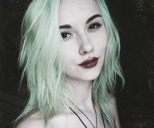 philtrum, alt girl, and green hair image